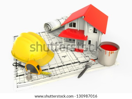 House paint bucket, metro and safety helmet - stock photo