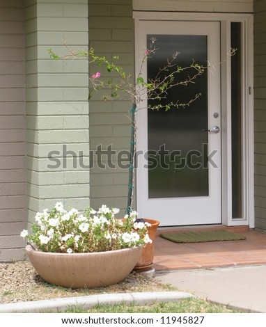 House patio with flower pot and tree - stock photo