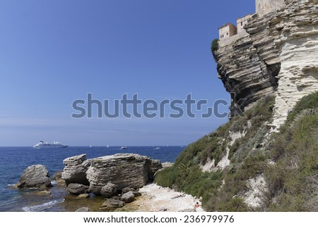 House perched on limestone cliffs, Bonifacio, Corsica, France - stock photo