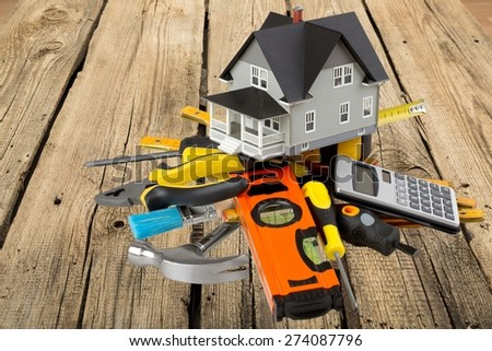 House, Plan, Blueprint. - stock photo
