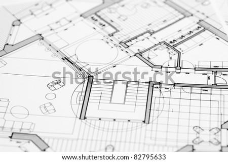 house plan blueprint - stock photo