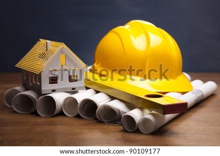 House plan blueprints - stock photo