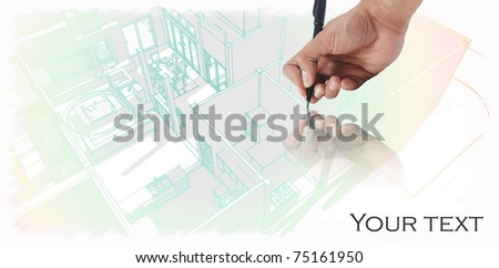 House plan drawing - stock photo