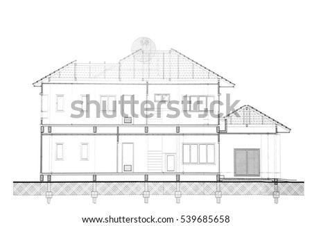 House Plan   Side View.