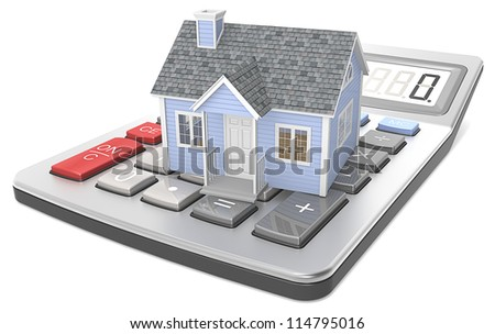 House Pricing. Small blue house on a calculator. - stock photo