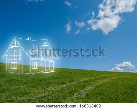 house project on the meadow - stock photo