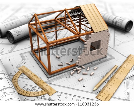 House project with model, pencil and rules - stock photo