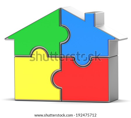 house puzzle on white background