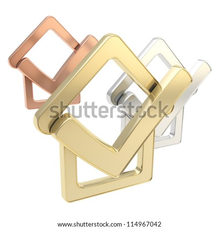 House rating agency: omposition of golden, silver, bronze glossy checked house emblems with yes tick icon over it isolated on white background - stock photo