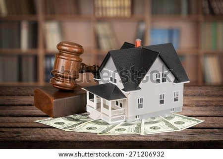 House, Real Estate, Auction. - stock photo