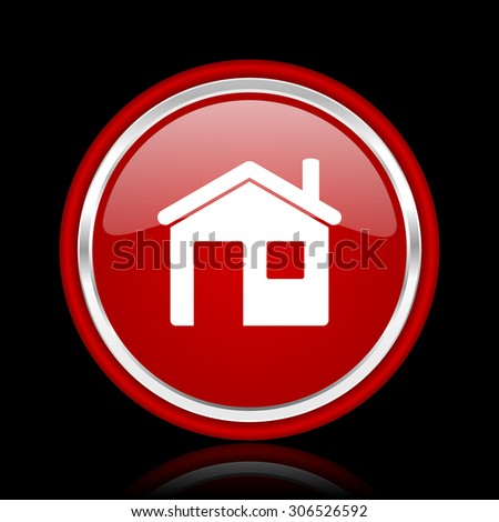house red glossy web icon chrome design on black background with reflection   - stock photo
