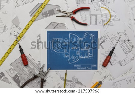 house renovation plan - stock photo