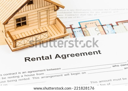 House rental agreement document - stock photo