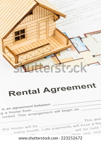 House rental agreement document - stock photo