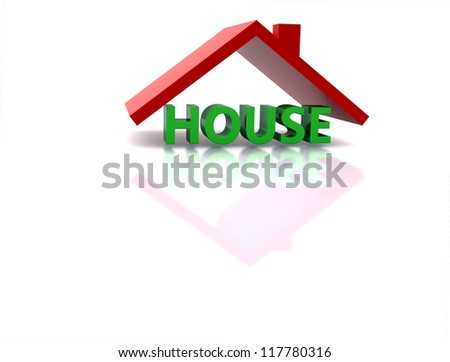 House roof 3D - stock photo
