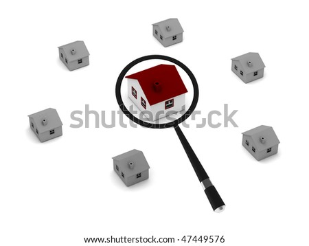 House search. Loupe and row of houses isolated on white background. High quality 3d render. - stock photo