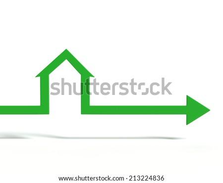House shape arrow. Business  concept. - stock photo