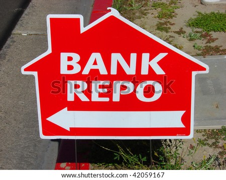 house shaped bank repo sign - stock photo