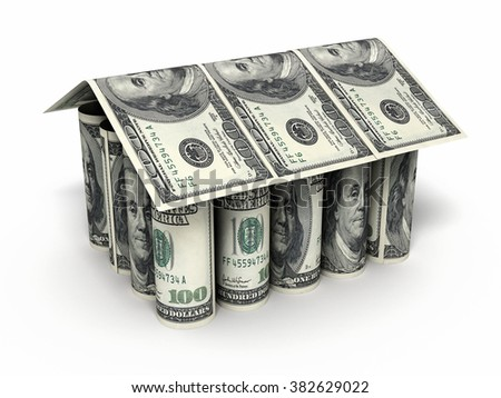 House shaped Hundred dollar banknotes roll close-up (isolated ) - stock photo