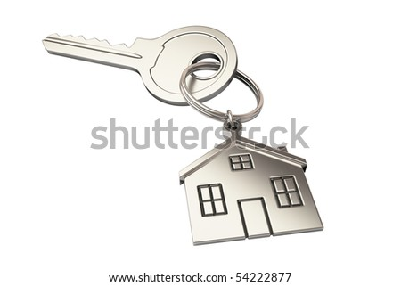 House shaped keychain isolated on white background - stock photo