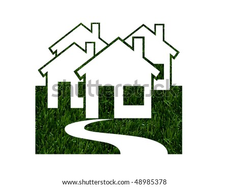 House shapes in green grass isolated on white background, Environmentally Friendly Green Homes - stock photo