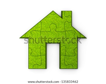 House sign is represented in the puzzle's form, three-dimensional rendering - stock photo
