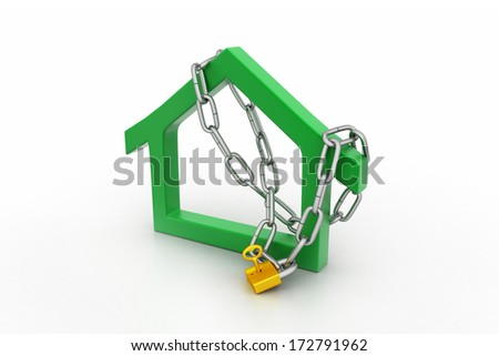 House  sign locked in chain and padlock - stock photo