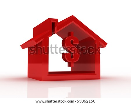 house silhouette with dollar sign - stock photo