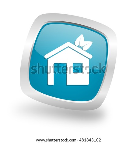 house square glossy chrome silver metallic web icon