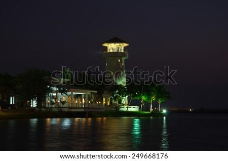 House, Sunset, Riverside, front nature - stock photo