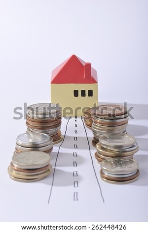 House surrounded by a lot of money - stock photo