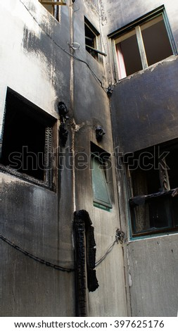 house that was abandoned after a large fire, Alicante, Spain 05.03.2016