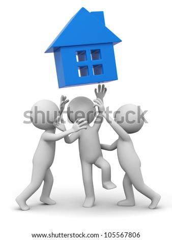 house/Three people are fighting for a house - stock photo