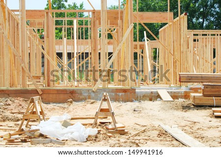 House under construction - stock photo