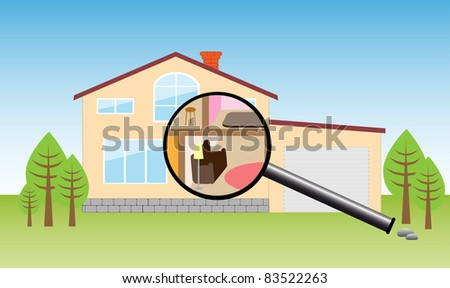 House under magnifying - stock photo