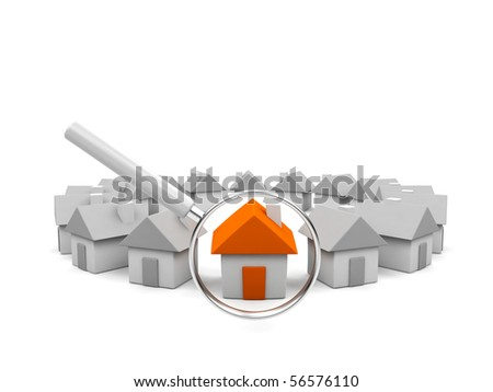 House under magnifying glass. - stock photo