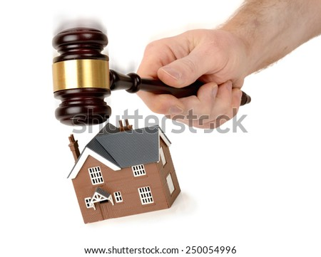 House under the hammer auction sale, isolated on a white background - stock photo