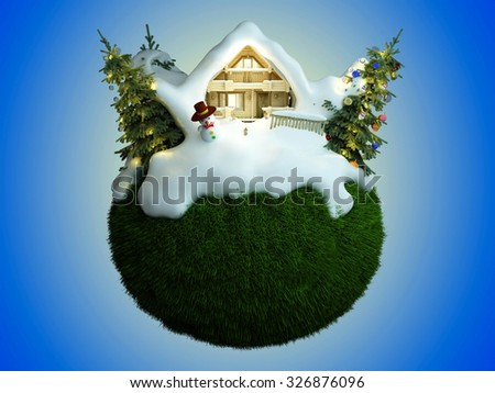 House under the snow on a green planet. - stock photo