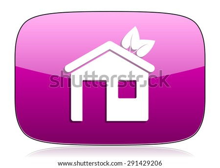 house violet icon ecological home symbol original modern design for web and mobile app on white background with reflection  - stock photo