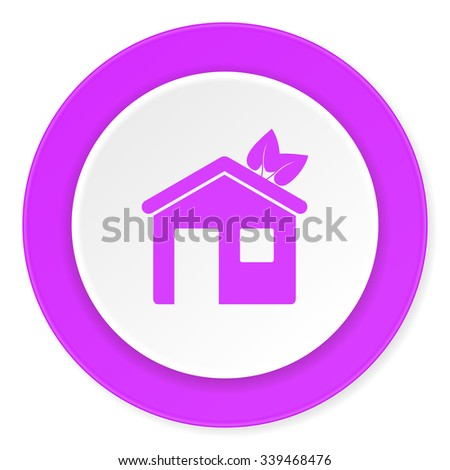house violet pink circle 3d modern flat design icon on white background  - stock photo