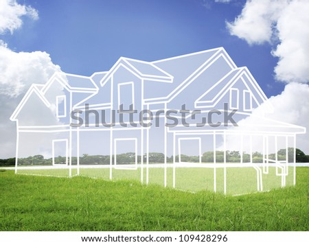 house vision on green meadow. Conceptual image - stock photo