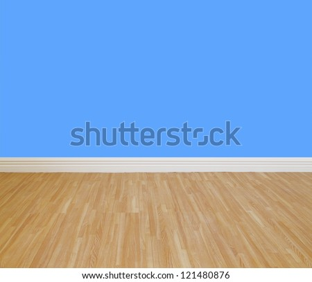 House wall painting with wooden tile floor. - stock photo
