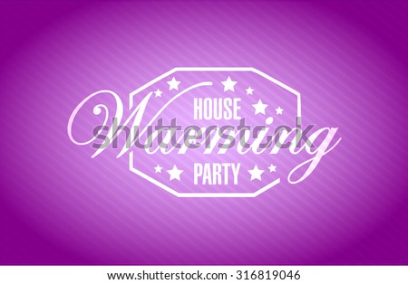 house warming party purple background sign illustration design graphic - stock photo