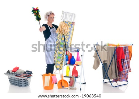 House wife, clothesline with washed clothing, basket with ironed goods, ladder with cleaning products, daily household. - stock photo