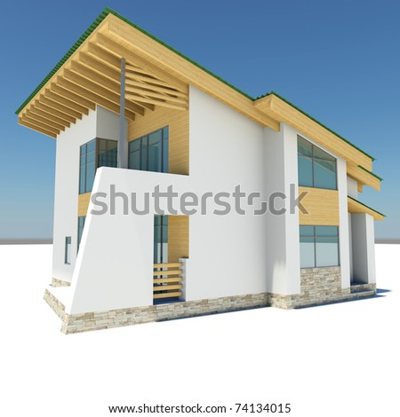 house with a green roof is on a white ground against the blue sky - stock photo