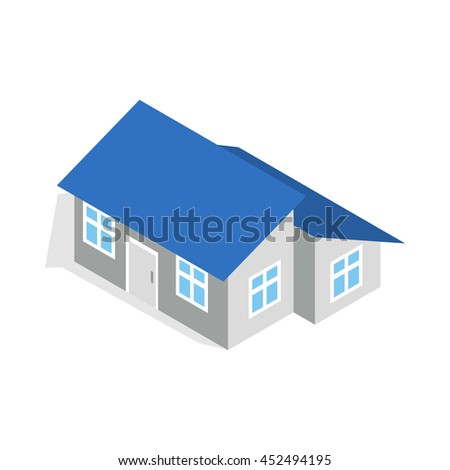 Good House With Annexe Icon In Isometric 3d Style Isolated On White Background.  Construction Symbol