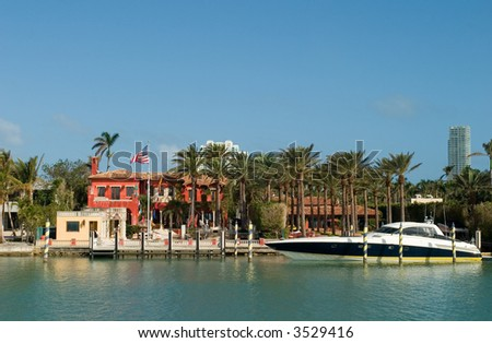 House with Big Boat - stock photo