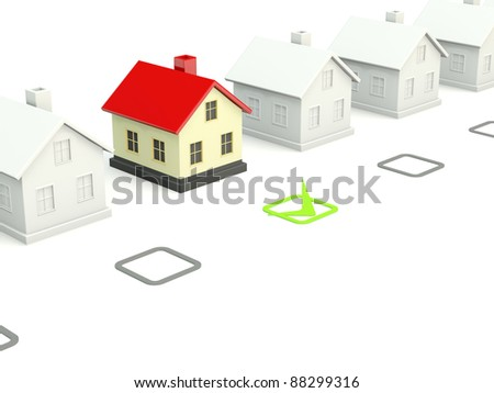 House with checkmark isolated on white - stock photo