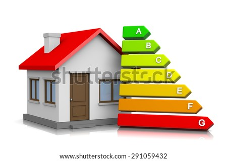 House with Energetic Class Chart on White Background 3D Illustration - stock photo