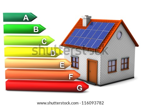House with energy pass symbol. White background. - stock photo